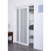 Prefinished Engineered Wood Bypass Sliding Door with 1 Lite Frosted Insert & Off-White Finish image