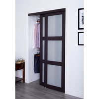 Prefinished Engineered Wood Bypass Sliding Door with 3 Lite Frosted Insert & Espresso Finish image