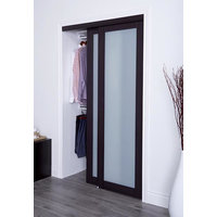 Prefinished Engineered Wood Bypass Sliding Door with 1 Lite Frosted Insert & Espresso Finish image