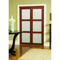 Prefinished Engineered Wood Bypass Sliding Door with 3 Lite Frosted Insert & Cherry Finish image