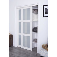 Prefinished Engineered Wood Bypass Sliding Door with 3 Lite Frosted Insert & Off-White Finish image