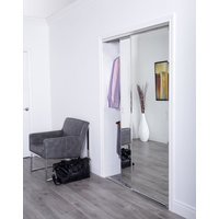 "Premium Aluminum Sliding Bypass Door with 1"" Beveled Edge Mirror Insert & Edgeframe Stile image"