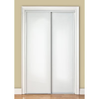 Premium Sliding Bypass Door with White Back Painted Glass Insert & Wide Curved Contemporary Stile image