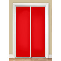Premium Sliding Bypass Door with Red Back Painted Glass Insert & Wide Curved Contemporary Stile image