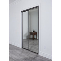 Premium Sliding Bypass Door with Mirror Insert & Wide Curved Contemporary Stile image