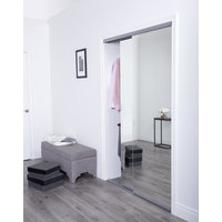 Premium Sliding Bypass Door with Polished Edge Mirror Insert & Edgeframe Stile image