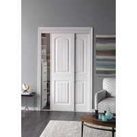 Sliding Bypass Door with Primed 2 Panel Bead Board Curved Design Insert & Narrow Stile image