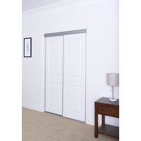 Sliding Bypass Door with Primed 2 Panel Arched Top Design Insert & Narrow Stile image
