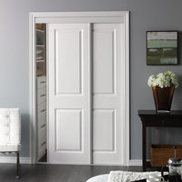 Sliding Bypass Door with Primed 2 Panel Square Top Design Insert & Narrow Stile image