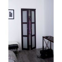 Prefinished Engineered Wood Pivot Door with 3 Lite Frosted Insert & Espresso Finish image
