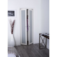 Prefinished Engineered Wood Pivot Door with 1 Lite Frosted Insert & Off-White Finish image