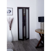 Prefinished Engineered Wood Pivot Door with 1 Lite Frosted Insert & Espresso Finish image