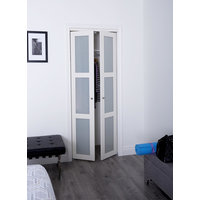 Prefinished Engineered Wood Pivot Door with 3 Lite Frosted Insert & Off White Finish image